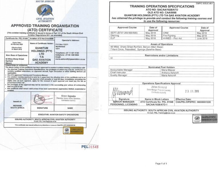 SACAA ATO certificat